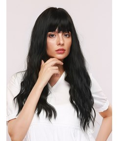 130% Density Women's Water Wave Synthetic Hair Capless Wigs With Bangs 28Inches