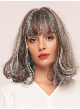 Women's Kinky Curly 130% Density Synthetic Hair Capless Wigs With Bangs 14Inches