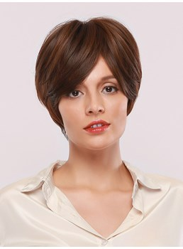 Women's Short Bob Hairstyles Straight Synthetic Hair Capless Wigs With Bangs 10Inches