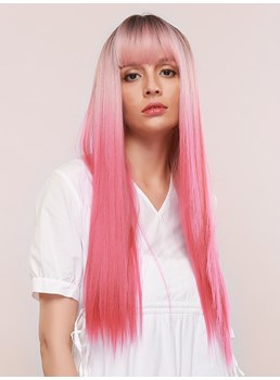 Women's Silky Straight Pink Color Synthetic Hair 130% Density Capless Wigs 28Inches