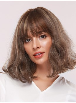 Medium Hairstyle Women's Bob Style Wavy Synthetic Hair Capless Wigs With Bangs 14Inches