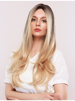 Women's Ombre Blonde Color Wavy Synthetic Hair 130% Density Capless Wigs 26Inches