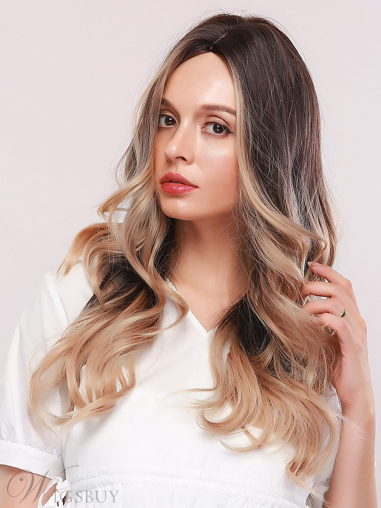 Natural Looking Women's 130% Density Body Wave Synthetic Hair Capless Wigs 24Inches