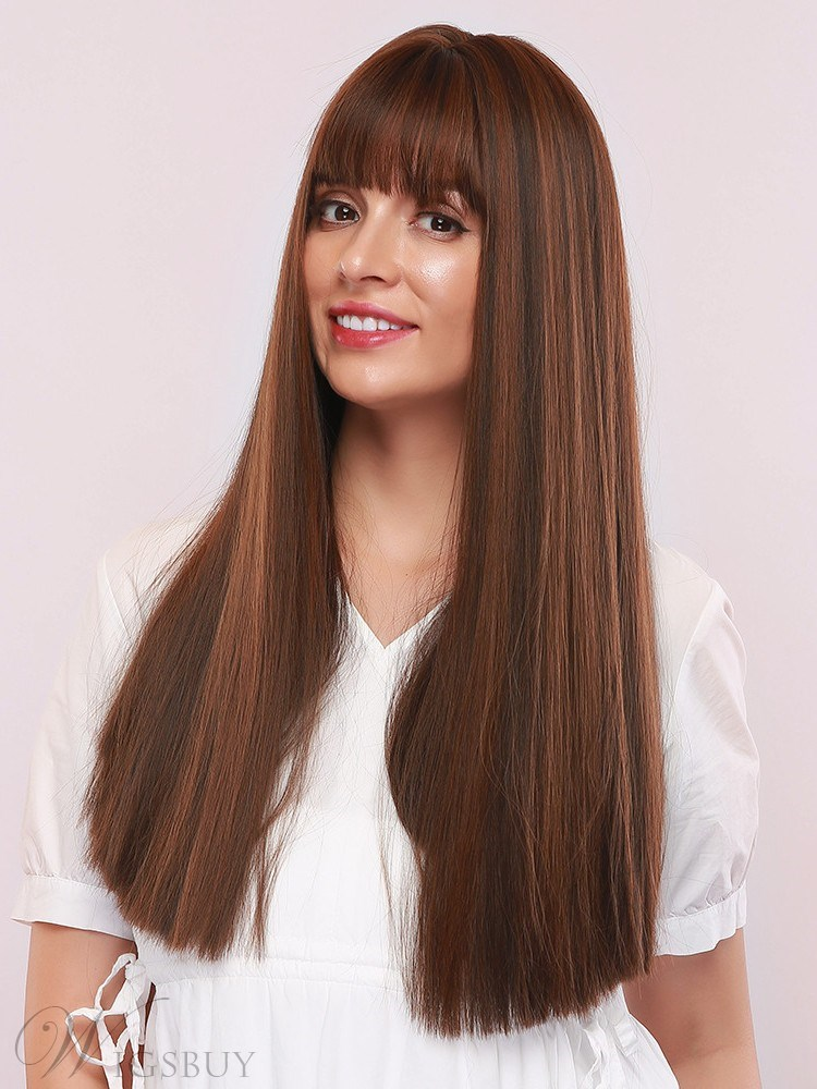 Mixed Color Women's Long Straight Synthetic Hair Capless Wigs With Bangs 24Inches