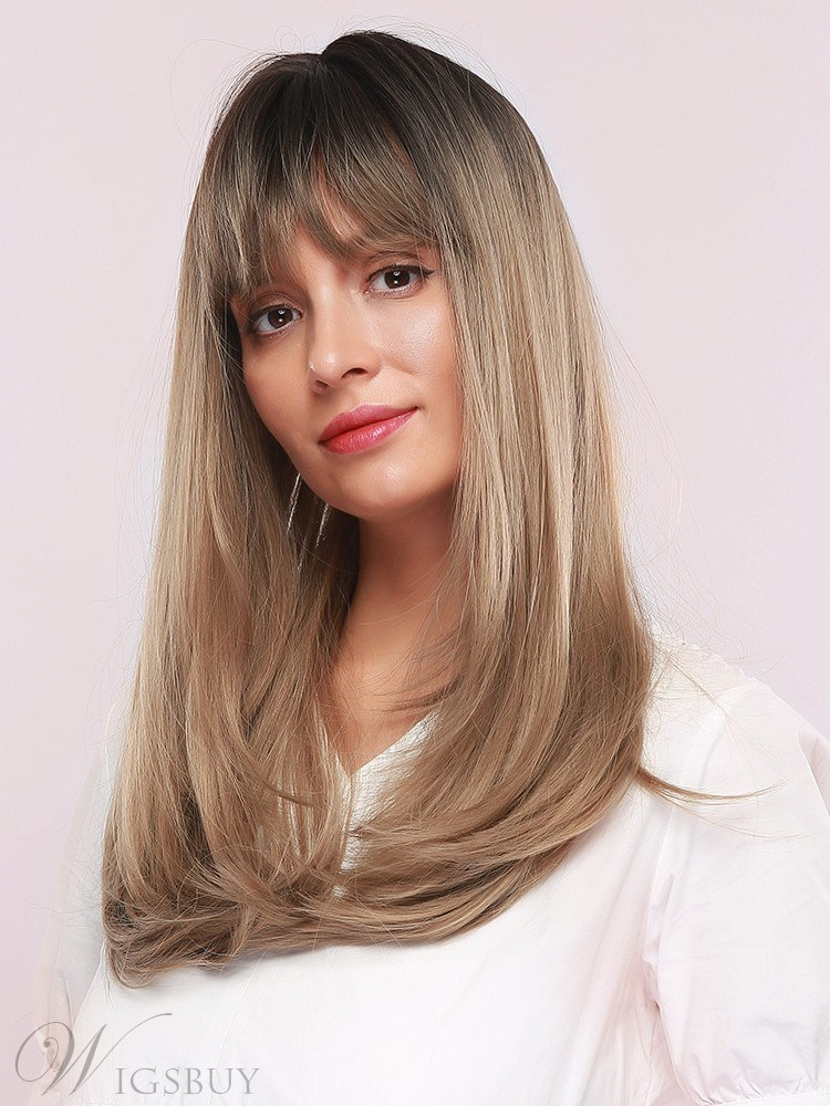 130% Density Women's Straight Synthetic Hair Breathable&Durable Rose Net Capless Wigs 24Inches