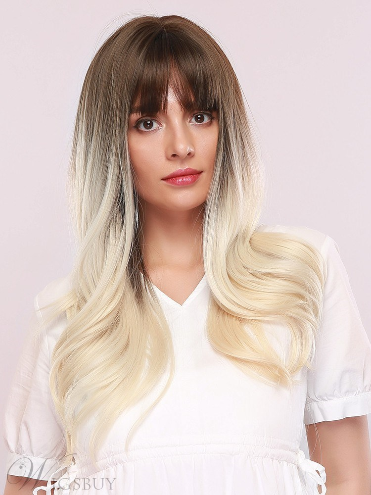 130% Density Women's Natural Looking Body Wave Synthetic Hair Wigs Blonde Color Capless Wigs 24 Inches