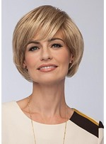 Women's Short Layered Bob Hairstyles Straight Human Hair Wigs With Bangs Lace Front Wigs 12Inch
