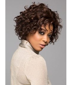 Women's Tightly Curled And Waved Bob Lace Front Cap 100% Human Hair Wigs 8Inch