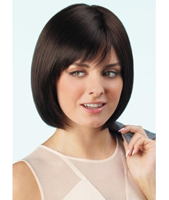 Women's Bob Style Wigs Straight Human Hair Wigs With Bangs Lace Front Cap Wigs 12Inch
