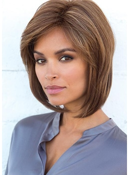 Women's Short Bob Hairstyles Natural Straight Synthetic Hair Caplee Wigs 12Inch