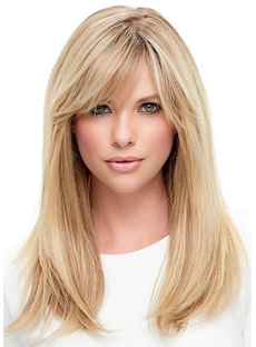 Women Long Blonde Straight Synthetic Hair Capless Wig With Bangs Golden Wigs 22Inch