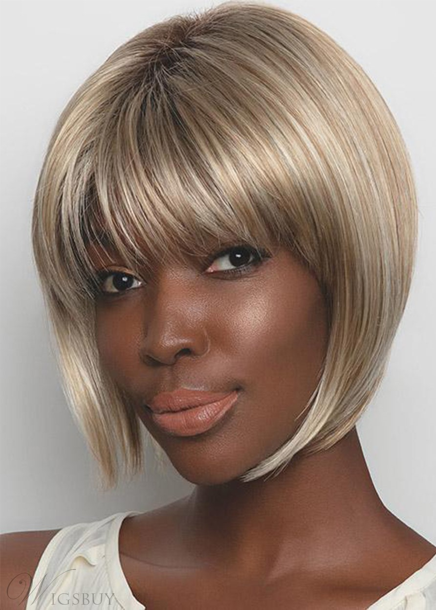 African American Women's Short Bob Haistyles Straight Human Hair Lace Front Cap Wigs With Bangs 10Inch