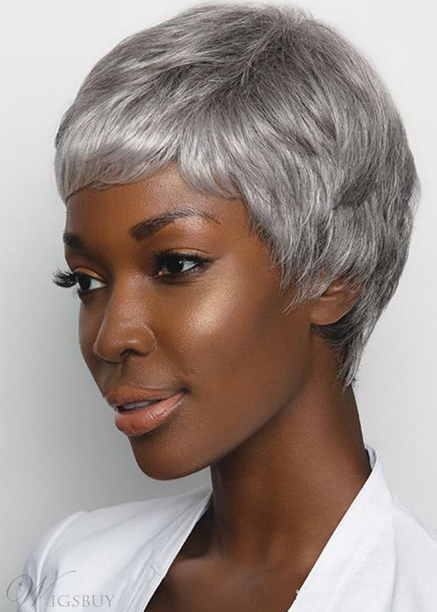Women's Short Pixie Cut Hairstyles Straight Synthetic Hair Capless Wigs 6inch