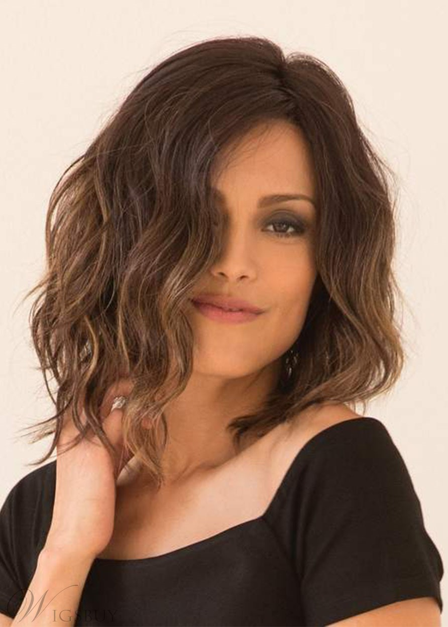 Soft-angled Waved Bob Hairstyle Women's Medium Length Wavy Synthetic Capless Wigs 12Inch