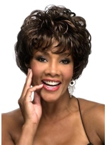 Natural Looking Women's Short Curly Human Hair Capless Wigs With Bangs 8Inch