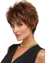 Women's Short Layered Hairstyle Natural Straight Synthetic Hair Capless Wigs With Bangs 8Inch