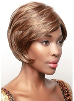 Women's Short Layered Bob Style Straight Human Hair Capless Wigs For African American Women 8Inch