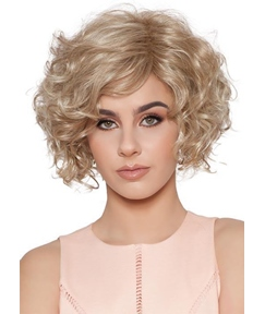 Women's Classic Look Layered Bob Tighter Curls Human Hair Lace Front Wigs 14Inch