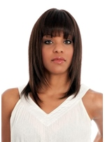 Medium Hairstyle Women's Bob Style Straight Human Hair Wigs With Bangs Capless Wigs 16Inch