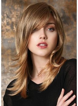 Women's Long Layered Hairstyles Natural Looking Straight Synthetic Hair Capless Wigs 22Inch