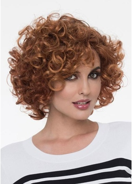 Natural Looking Women's Short Hairstyles Ginger Curly Synthetic Hair Capless Wigs 12Inch