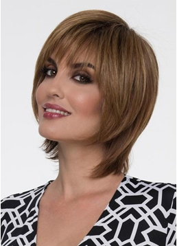 Piecey Jaw-Length Layers Hairstyle Women's Straight Human Hair Capless Wigs With Bangs 8Inch