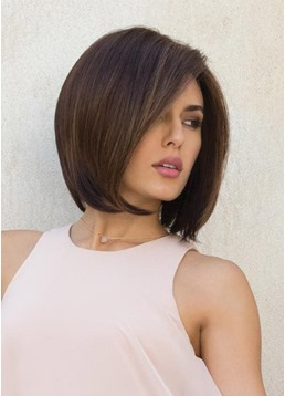 Women's Softly Razored Layers Bob Hairstyles Straight Synthtic Hair Capless Wigs 10Inch