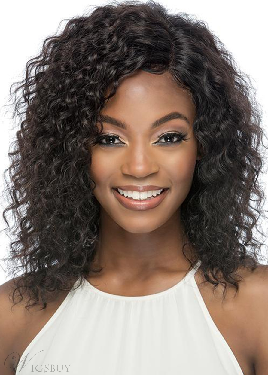 Medium Hairstyle Women's Layers Curly Human Hair Lace Front Wigs 16Inch
