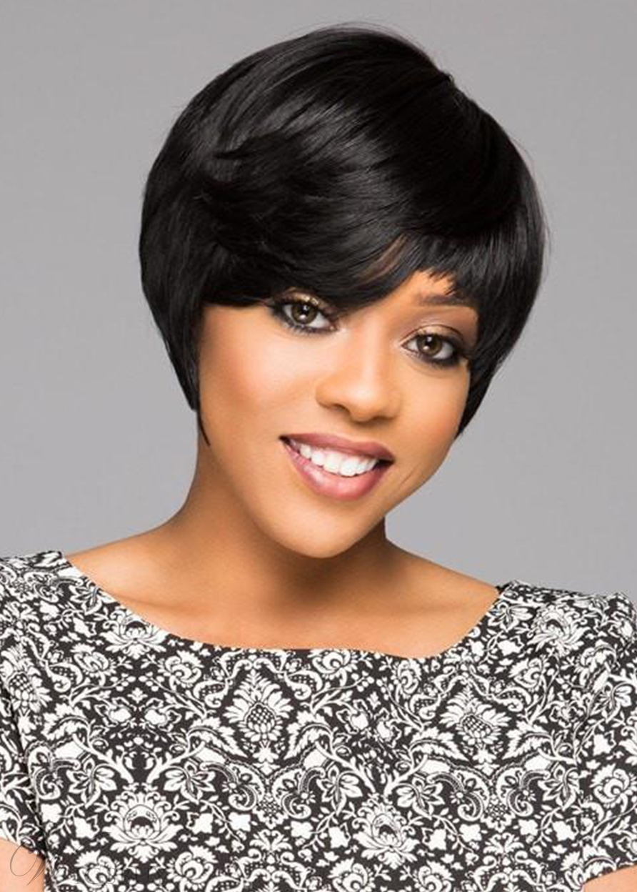 Short Bob Hairstyles Women's Boy Cut Straight Human Hair Capless Wigs 8Inch