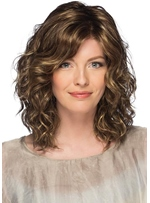 Mid-Length Style Women's Layered Waves Curly Synthetic Hair Capless Wigs 18Inch
