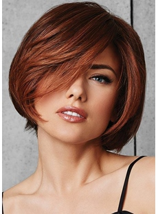 Short Bob Hairstyles Women's Natural Looking Straight Bob Synthetic Hair Capless Wigs 8Inch
