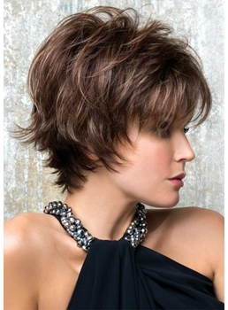 Women's Short Shaggy Hairstyles Layered Straight Human Hair Capless Wigs 8Inch