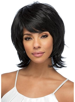 Women's Shaggy Layered Hairstyles Natural Straight Human Hair Capless Wigs 12Inch