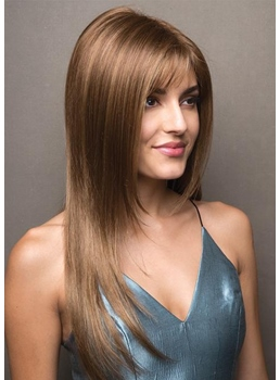 Women's Long Length Slik Straight Human Hair Lace Front Wigs 24Inch