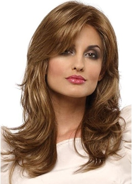 Natural Looking Women's Long Layered Wavy Synthetic Hair Capless Wigs 24inch