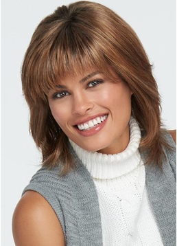 Lovely Women's Medium Hairstyles Straight Synthetic Hair Capless Wigs With Bob Bangs 16Inch