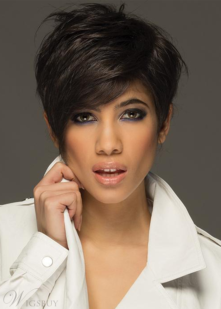 Women's Short Pixie Cut Hairstyles Straight Human Hair Lace Front Wigs With Bangs 8Inch