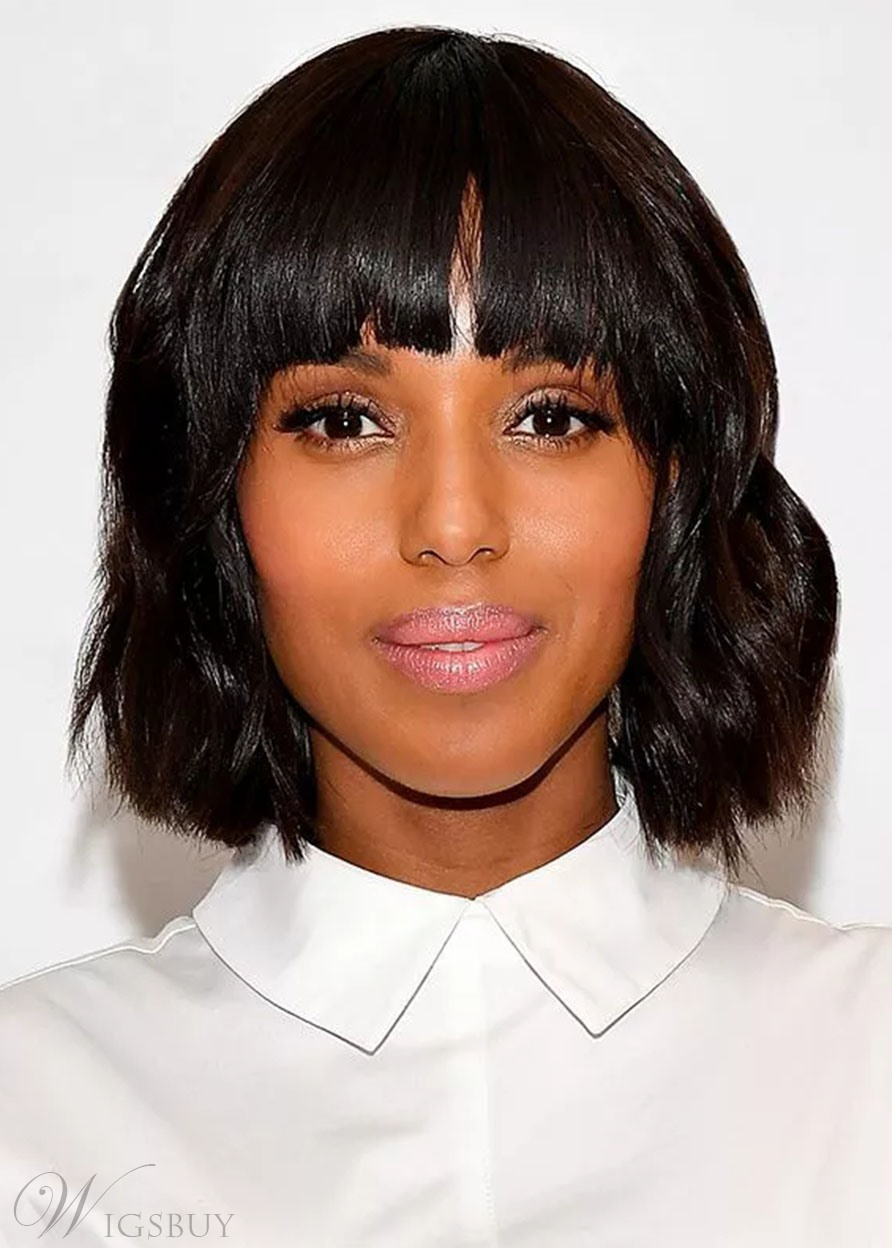 African American Women's Short Bob Hairstyle Wavy Human Hair Capless Wigs 12Inch