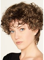 Women's Short Length Hairstyles Kinky Curly Synthetic Hair Capless Wigs 10Inch