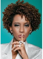 Natural Looking Women's Afro Kinky Curly Synthetic Hair Capless Wigs 10Inch