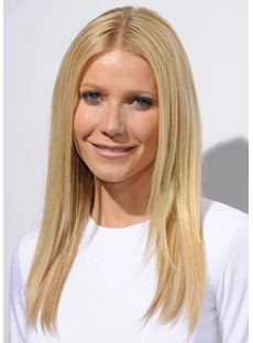 Women's Middle Part Blonde Color Natural Straight Synthetic Hair Lace Front Cap Wigs 18Inch