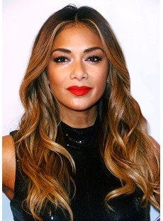 Natural Looking Women's Long Wavy Synthetic Hair Middle Part Lace Front Cap Wigs 22Inch