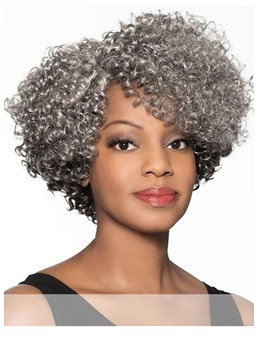 African American Women's Short Short Tight Curls Synthetic Hair Capless Wigs 14Inch