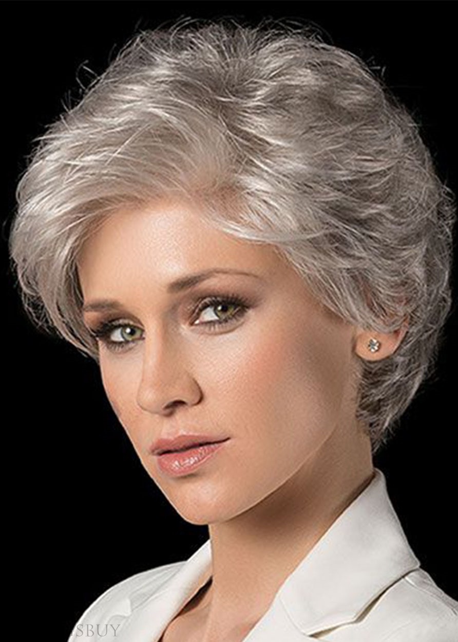 Short Shaggy Hairstyles Women's Wavy Synthetic Hair Capless Wigs 10Inch