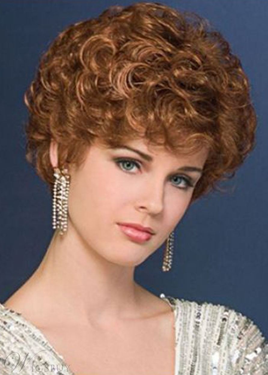 New Design Women's Blonde Curly Cropped Synthetic Hair Comfortable Capless Wigs 8Inch