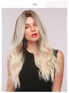 Womens Light Color Body Wave Synthetic Hair 130% Density Rose Net Capless Wigs 26Inches