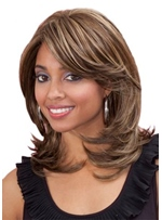 Women's Medium Shaggy Hairstyles Natural Straight Synthetic Hair Capless Wigs 18Inch