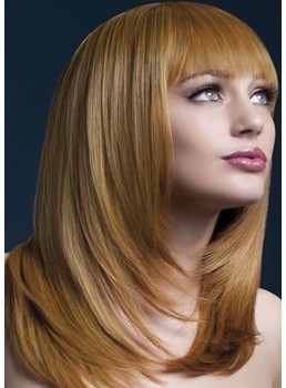 Medium Bob Hairstyles Fashion Women's Straight Synthetic Hair Wigs With Bangs Capless Wigs 20Inch