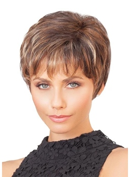 Natural Looking Women's Short Boy Cuts Hairstyles Straight Synthtic Hair Capless Wigs 8Inch