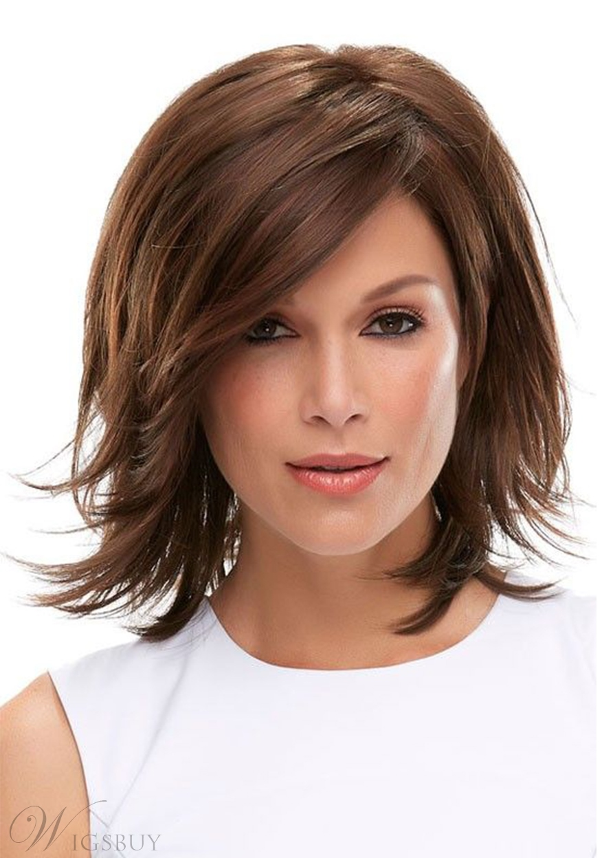 Women's Natural Volume Layered Straight Human Hair Wigs With Bangs Capless Wigs 12Inch